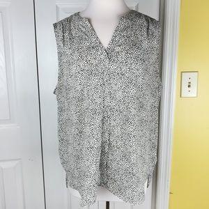 NYDJ off white polka dot pleated popover blouse
